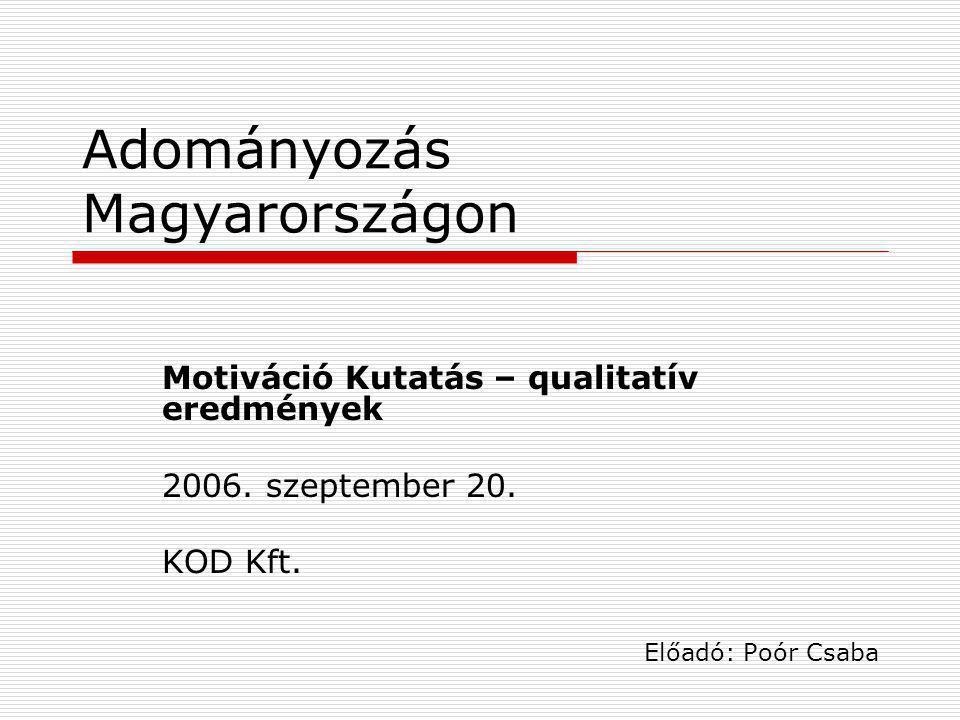Adományozás Magyarországon Motiváció Kutatás – qualitatív eredmények 2006. szeptember 20. KOD Kft. Előadó: Poór Csaba