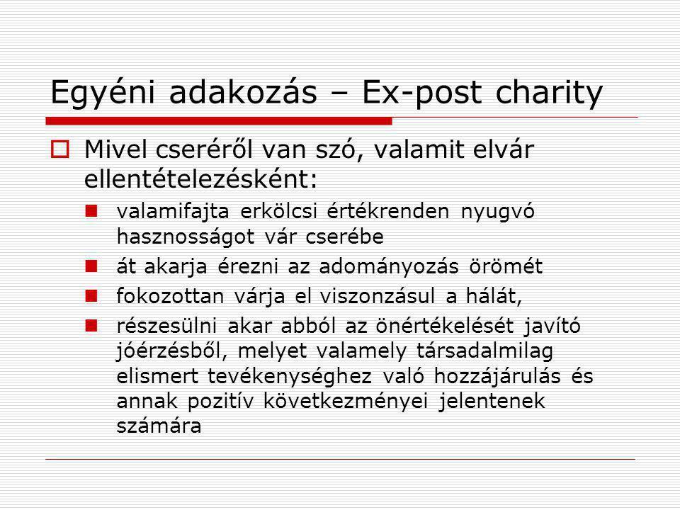 Egyéni adakozás – Ex-post charity  Mivel cseréről van szó, valamit elvár ellentételezésként: valamifajta erkölcsi értékrenden nyugvó hasznosságot vár