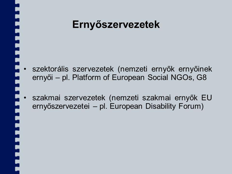 Ernyőszervezetek szektorális szervezetek (nemzeti ernyők ernyőinek ernyői – pl. Platform of European Social NGOs, G8 szakmai szervezetek (nemzeti szak