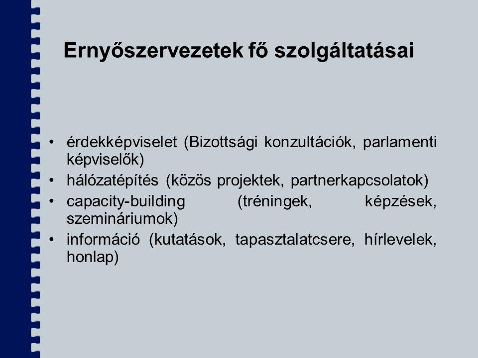Ernyőszervezetek fő szolgáltatásai érdekképviselet (Bizottsági konzultációk, parlamenti képviselők) hálózatépítés (közös projektek, partnerkapcsolatok