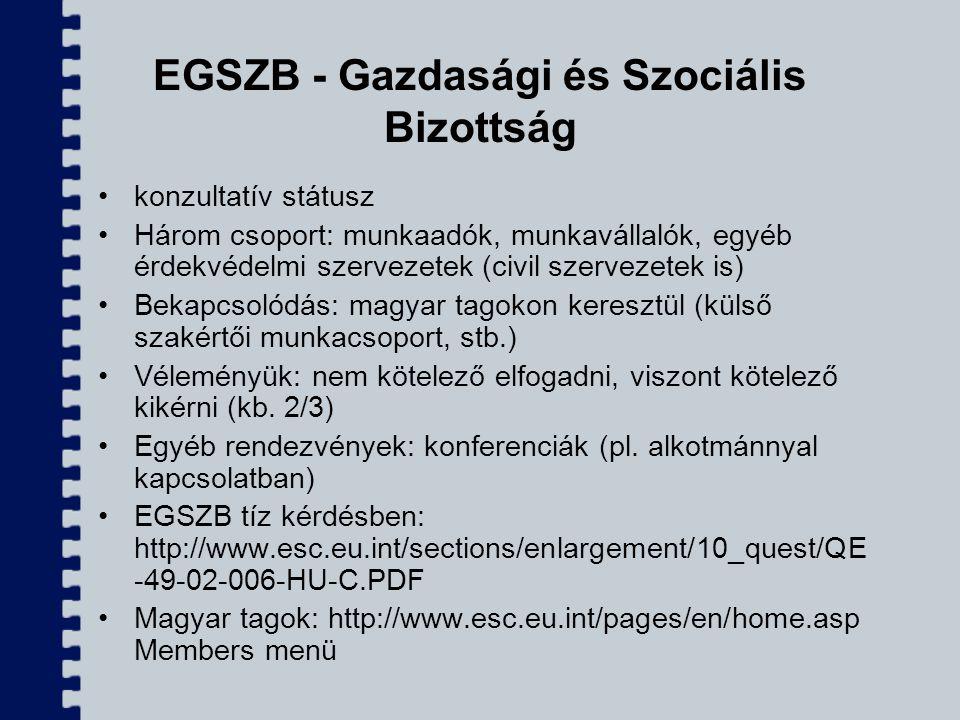 EGSZB - Gazdasági és Szociális Bizottság konzultatív státusz Három csoport: munkaadók, munkavállalók, egyéb érdekvédelmi szervezetek (civil szervezete