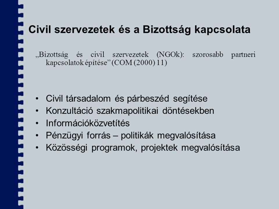 """Civil szervezetek és a Bizottság kapcsolata """"Bizottság és civil szervezetek (NGOk): szorosabb partneri kapcsolatok építése"""" (COM (2000) 11) Civil társ"""