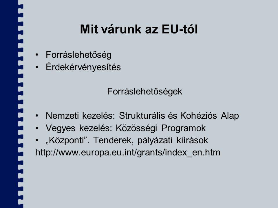 Mit várunk az EU-tól Forráslehetőség Érdekérvényesítés Forráslehetőségek Nemzeti kezelés: Strukturális és Kohéziós Alap Vegyes kezelés: Közösségi Prog