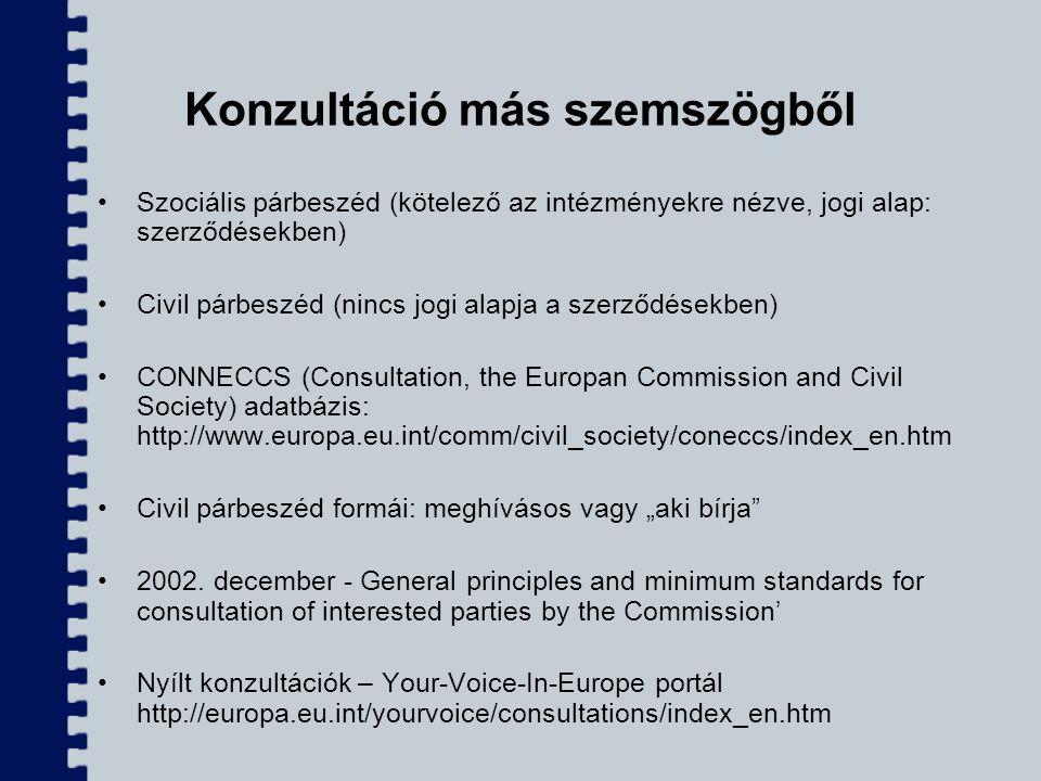 Konzultáció más szemszögből Szociális párbeszéd (kötelező az intézményekre nézve, jogi alap: szerződésekben) Civil párbeszéd (nincs jogi alapja a szer