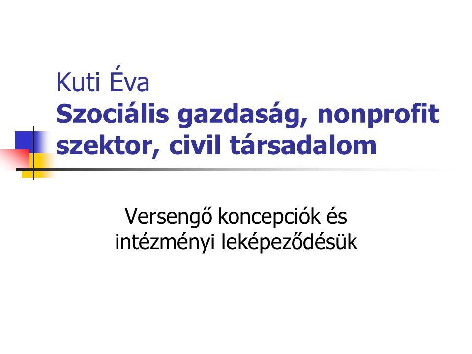 Kuti Éva Szociális gazdaság, nonprofit szektor, civil társadalom Versengő koncepciók és intézményi leképeződésük