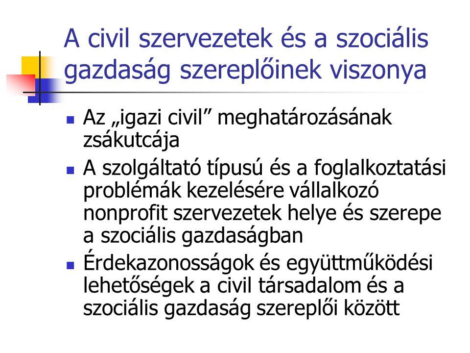 """A civil szervezetek és a szociális gazdaság szereplőinek viszonya Az """"igazi civil meghatározásának zsákutcája A szolgáltató típusú és a foglalkoztatási problémák kezelésére vállalkozó nonprofit szervezetek helye és szerepe a szociális gazdaságban Érdekazonosságok és együttműködési lehetőségek a civil társadalom és a szociális gazdaság szereplői között"""