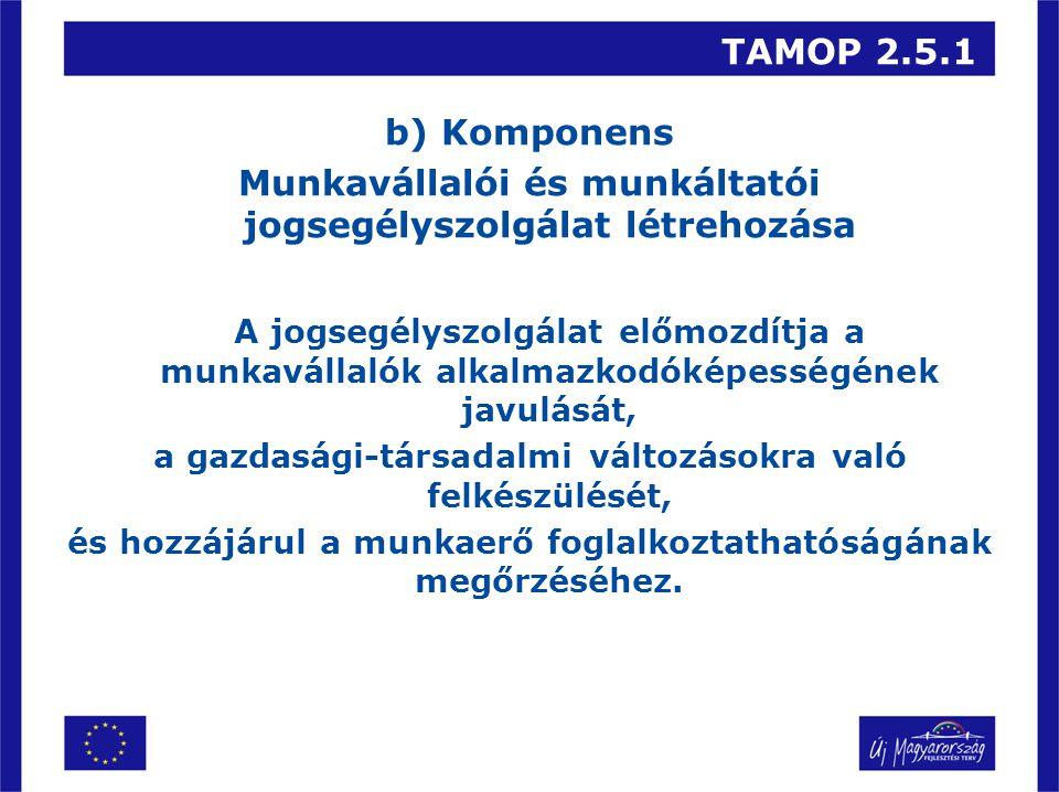 TAMOP 2.5.1 b) Komponens Munkavállalói és munkáltatói jogsegélyszolgálat létrehozása A jogsegélyszolgálat előmozdítja a munkavállalók alkalmazkodóképességének javulását, a gazdasági-társadalmi változásokra való felkészülését, és hozzájárul a munkaerő foglalkoztathatóságának megőrzéséhez.