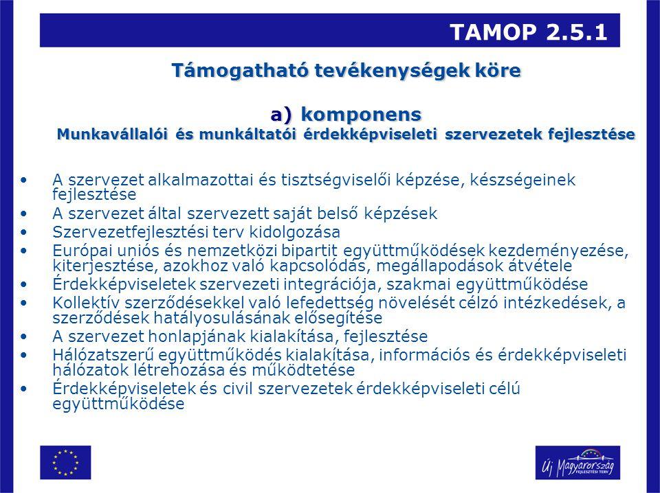 TAMOP 2.5.1 Támogatható tevékenységek köre a)komponens Munkavállalói és munkáltatói érdekképviseleti szervezetek fejlesztése A szervezet alkalmazottai és tisztségviselői képzése, készségeinek fejlesztése A szervezet által szervezett saját belső képzések Szervezetfejlesztési terv kidolgozása Európai uniós és nemzetközi bipartit együttműködések kezdeményezése, kiterjesztése, azokhoz való kapcsolódás, megállapodások átvétele Érdekképviseletek szervezeti integrációja, szakmai együttműködése Kollektív szerződésekkel való lefedettség növelését célzó intézkedések, a szerződések hatályosulásának elősegítése A szervezet honlapjának kialakítása, fejlesztése Hálózatszerű együttműködés kialakítása, információs és érdekképviseleti hálózatok létrehozása és működtetése Érdekképviseletek és civil szervezetek érdekképviseleti célú együttműködése