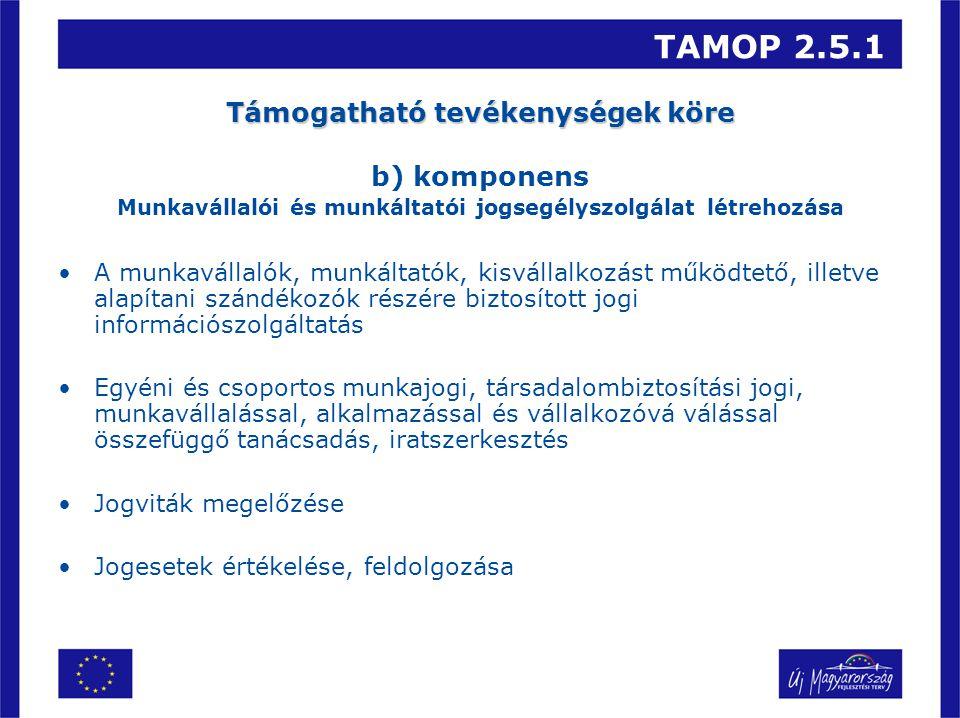 TAMOP 2.5.1 Támogatható tevékenységek köre b) komponens Munkavállalói és munkáltatói jogsegélyszolgálat létrehozása A munkavállalók, munkáltatók, kisvállalkozást működtető, illetve alapítani szándékozók részére biztosított jogi információszolgáltatás Egyéni és csoportos munkajogi, társadalombiztosítási jogi, munkavállalással, alkalmazással és vállalkozóvá válással összefüggő tanácsadás, iratszerkesztés Jogviták megelőzése Jogesetek értékelése, feldolgozása