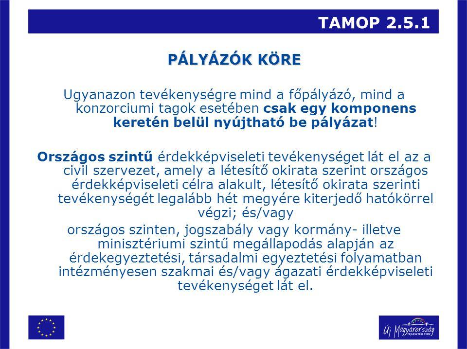 TAMOP 2.5.1 PÁLYÁZÓK KÖRE Ugyanazon tevékenységre mind a főpályázó, mind a konzorciumi tagok esetében csak egy komponens keretén belül nyújtható be pályázat.