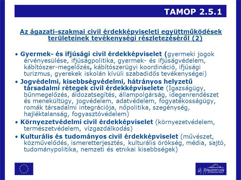 TAMOP 2.5.1 Az ágazati-szakmai civil érdekképviseleti együttműködések területeinek tevékenységi részletezéséről (2) Gyermek- és ifjúsági civil érdekképviselet (gyermeki jogok érvényesülése, ifjúságpolitika, gyermek- és ifjúságvédelem, kábítószer-megelőzés, kábítószerügyi koordináció, ifjúsági turizmus, gyerekek iskolán kívüli szabadidős tevékenységei) Jogvédelmi, kisebbségvédelmi, hátrányos helyzetű társadalmi rétegek civil érdekképviselete (Igazságügy, bűnmegelőzés, áldozatsegítés, állampolgárság, idegenrendészet és menekültügy, jogvédelem, adatvédelem, fogyatékosságügy, romák társadalmi integrációja, nőpolitika, szegénység, hajléktalanság, fogyasztóvédelem) Környezetvédelmi civil érdekképviselet (környezetvédelem, természetvédelem, vízgazdálkodás) Kulturális és tudományos civil érdekképviselet (művészet, közművelődés, ismeretterjesztés, kulturális örökség, média, sajtó, tudománypolitika, nemzeti és etnikai kisebbségek)