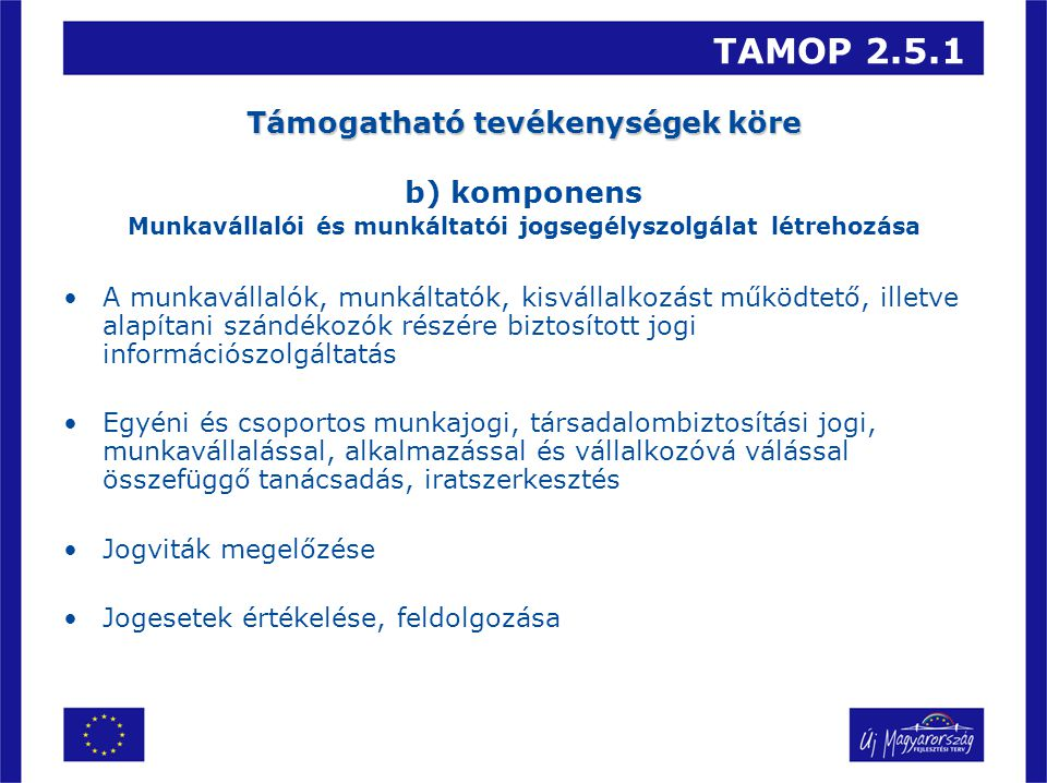 TAMOP 2.5.1 Támogatható tevékenységek köre b) komponens Munkavállalói és munkáltatói jogsegélyszolgálat létrehozása A munkavállalók, munkáltatók, kisv