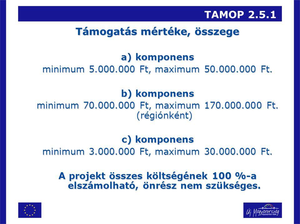 TAMOP 2.5.1 Támogatás mértéke, összege a) komponens minimum 5.000.000 Ft, maximum 50.000.000 Ft. b) komponens minimum 70.000.000 Ft, maximum 170.000.0