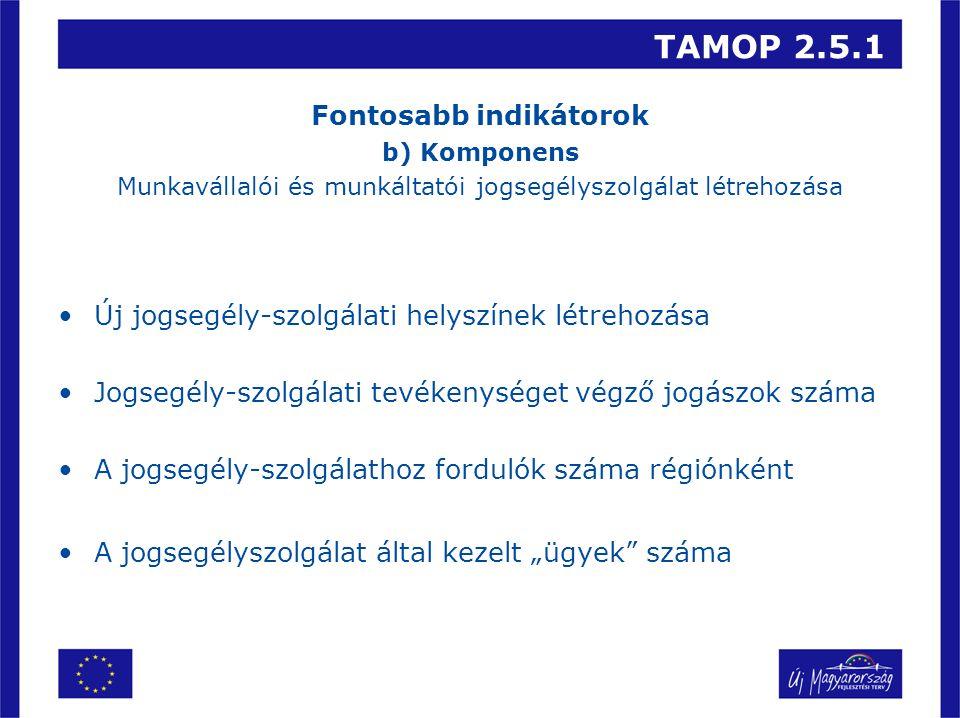 TAMOP 2.5.1 Fontosabb indikátorok b) Komponens Munkavállalói és munkáltatói jogsegélyszolgálat létrehozása Új jogsegély-szolgálati helyszínek létrehoz