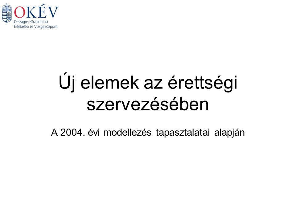 Új elemek az érettségi szervezésében A 2004. évi modellezés tapasztalatai alapján