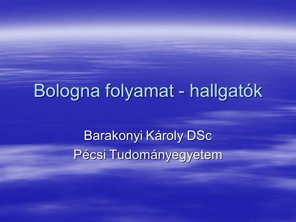 Bologna folyamat - hallgatók Barakonyi Károly DSc Pécsi Tudományegyetem