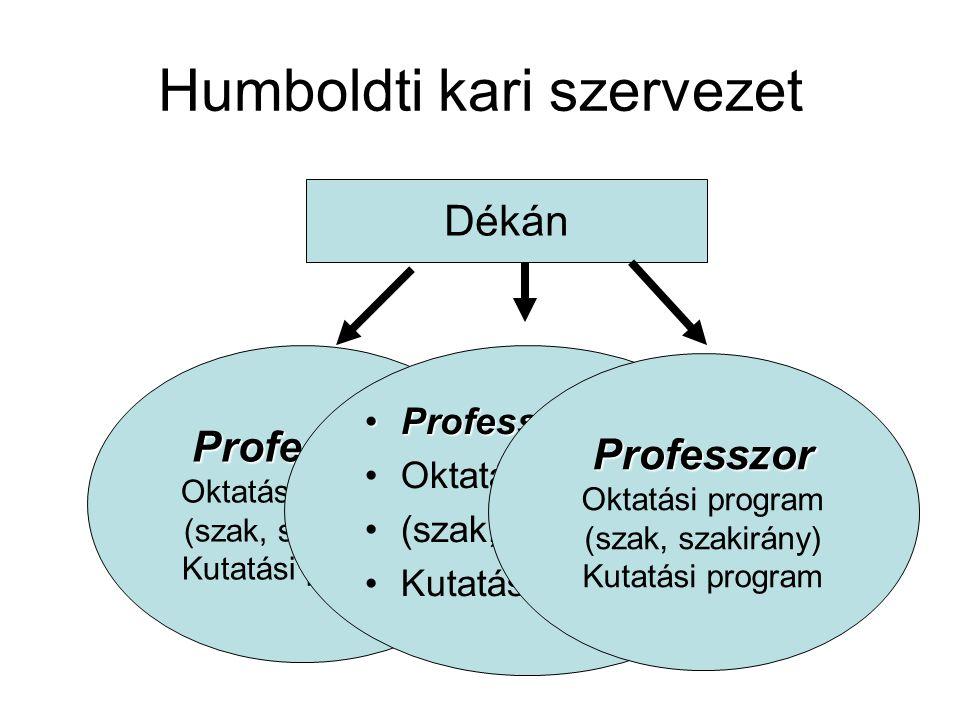 Kari szervezet elemei Oktatási programok Kutatási programok Emberi erőforrás pool: oktatók, kutatók Kiszolgáló egységek