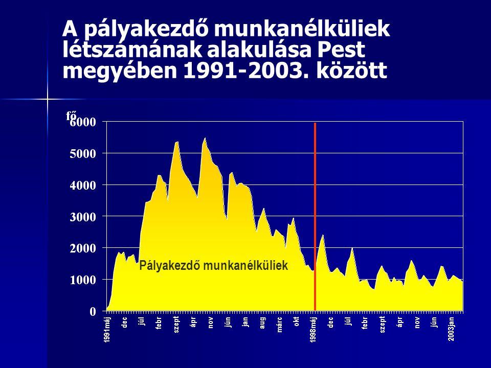A pályakezdő munkanélküliek létszámának alakulása Pest megyében 1991-2003.