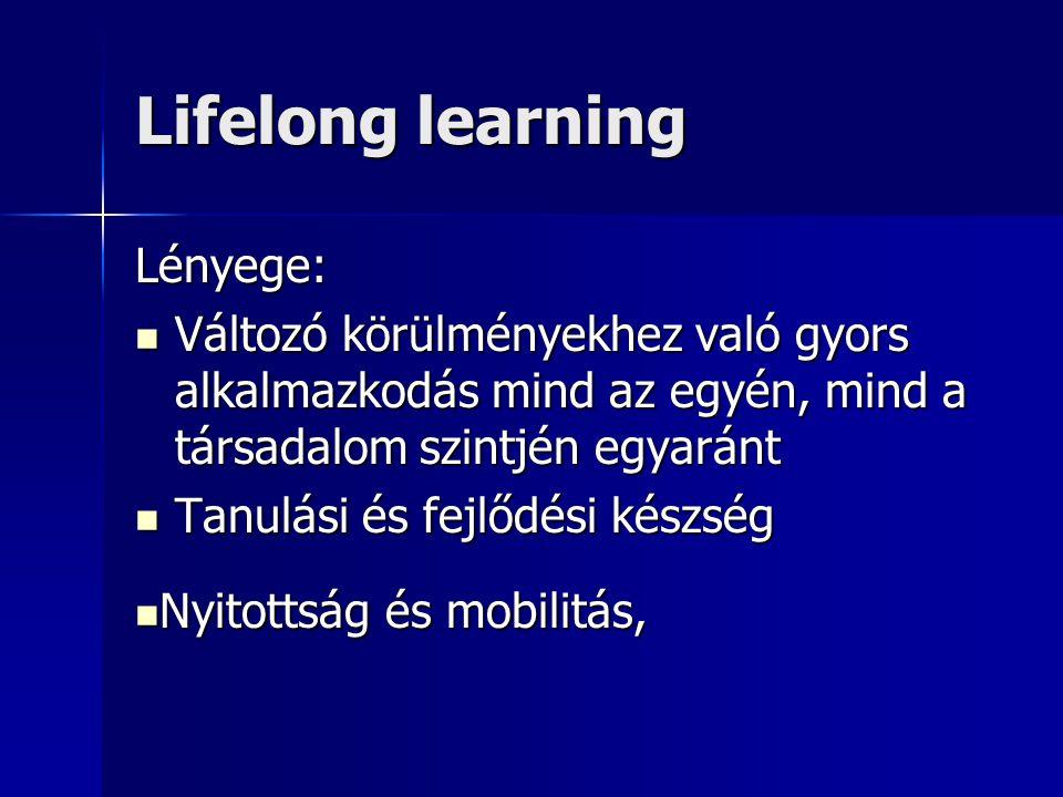 Lifelong learning Lényege: Változó körülményekhez való gyors alkalmazkodás mind az egyén, mind a társadalom szintjén egyaránt Változó körülményekhez való gyors alkalmazkodás mind az egyén, mind a társadalom szintjén egyaránt Tanulási és fejlődési készség Tanulási és fejlődési készség Nyitottság és mobilitás, Nyitottság és mobilitás,