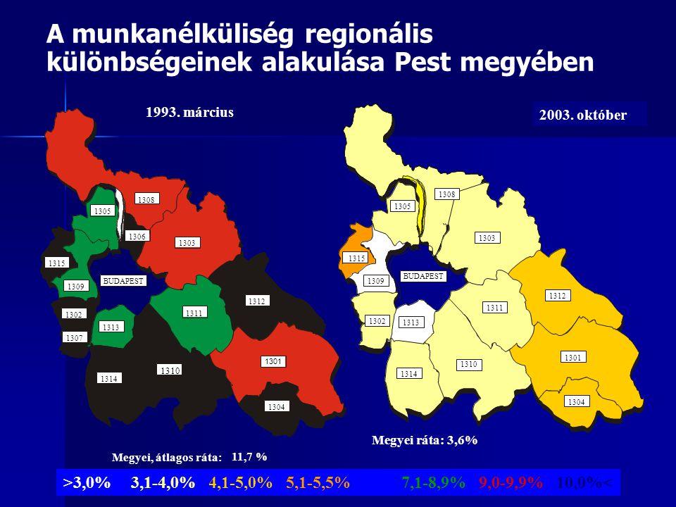 A munkanélküliség regionális különbségeinek alakulása Pest megyében 1310 1301 1302 1303 1304 1305 1308 1309 1311 1312 1313 1314 1315 BUDAPEST 2003.