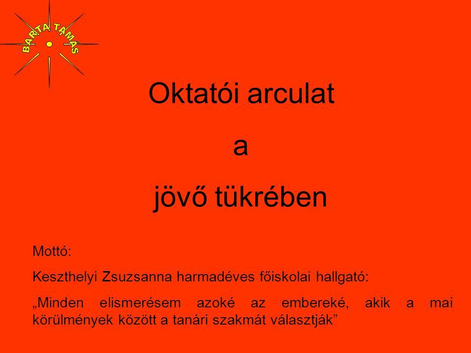 """Oktatói arculat a jövő tükrében Mottó: Keszthelyi Zsuzsanna harmadéves főiskolai hallgató: """"Minden elismerésem azoké az embereké, akik a mai körülmény"""