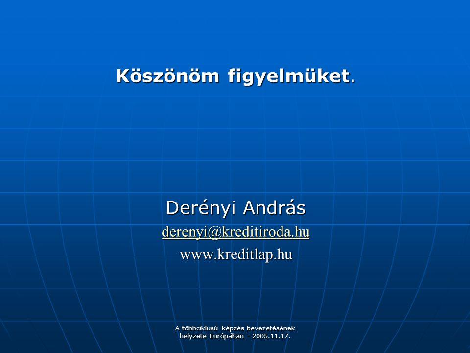 A többciklusú képzés bevezetésének helyzete Európában - 2005.11.17. Köszönöm figyelmüket. Derényi András derenyi@kreditiroda.hu www.kreditlap.hu