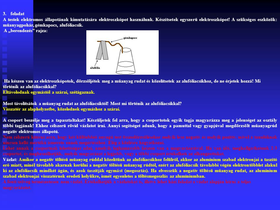 3.feladat A testek elektromos állapotának kimutatására elektroszkópot használunk.