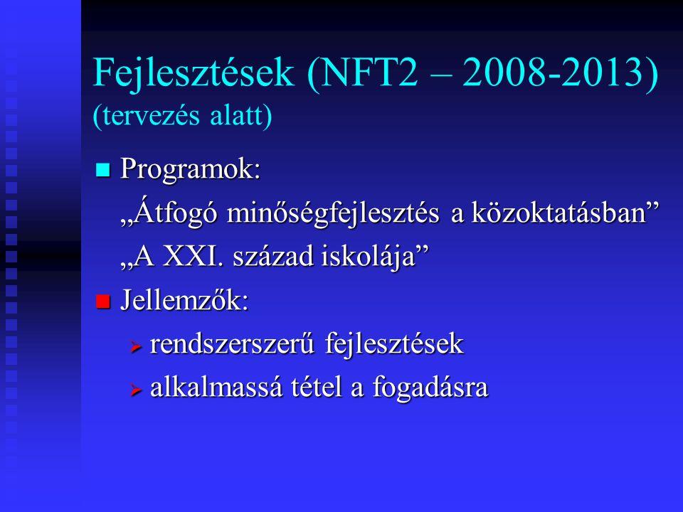 """Fejlesztések (NFT2 – 2008-2013) (tervezés alatt) Programok: Programok: """"Átfogó minőségfejlesztés a közoktatásban """"A XXI."""