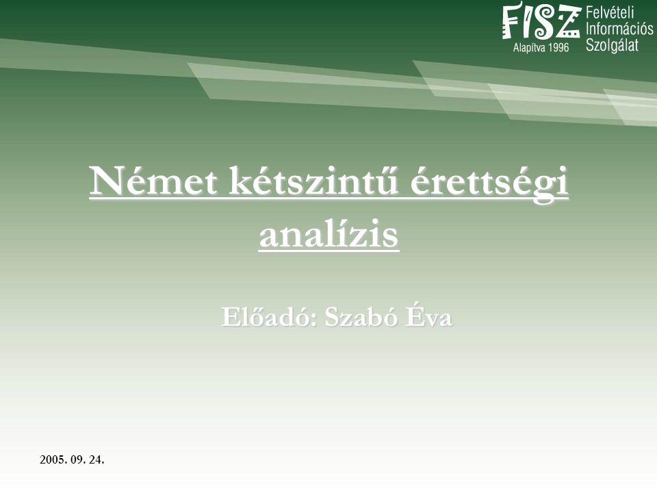 2005. 09. 24. Német kétszintű érettségi analízis Előadó: Szabó Éva