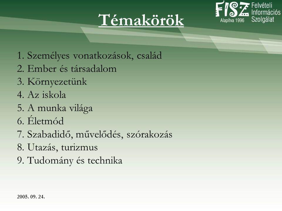 2005. 09. 24. Témakörök 1. Személyes vonatkozások, család 2.