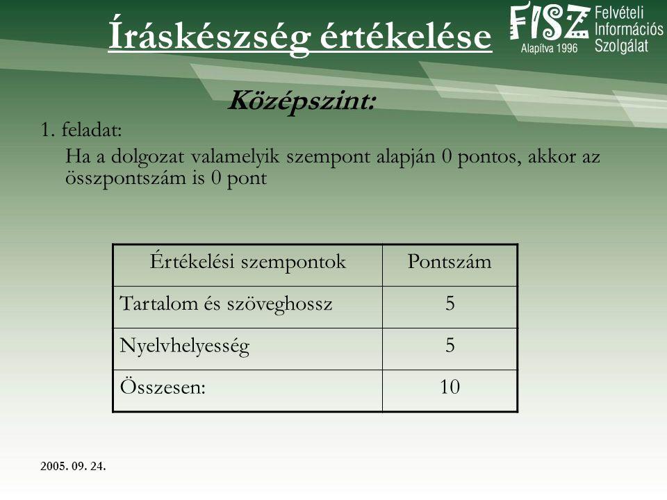 2005. 09. 24. Íráskészség értékelése Középszint: 1.