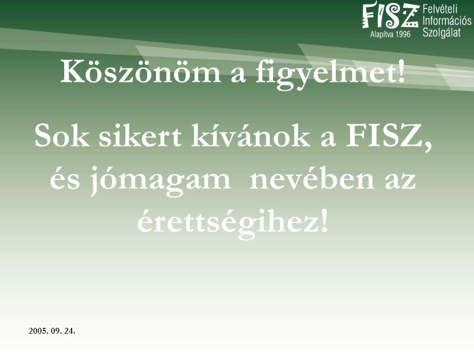 2005. 09. 24. Köszönöm a figyelmet! Sok sikert kívánok a FISZ, és jómagam nevében az érettségihez!