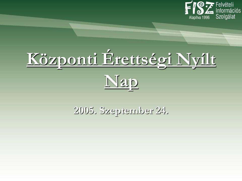 Központi Érettségi Nyílt Nap 2005. Szeptember 24.