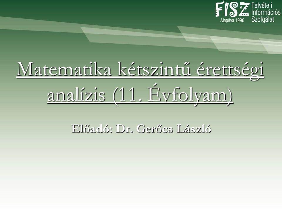 Matematika kétszintű érettségi analízis (11. Évfolyam) Előadó: Dr. Gerőcs László