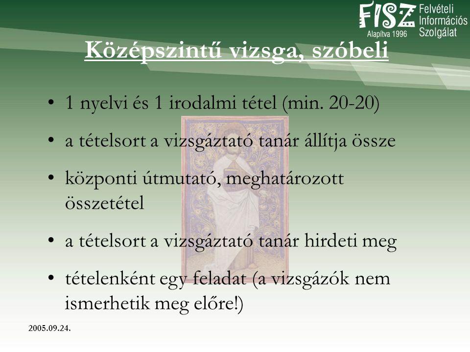 2005.09.24. Középszintű vizsga, szóbeli 1 nyelvi és 1 irodalmi tétel (min.