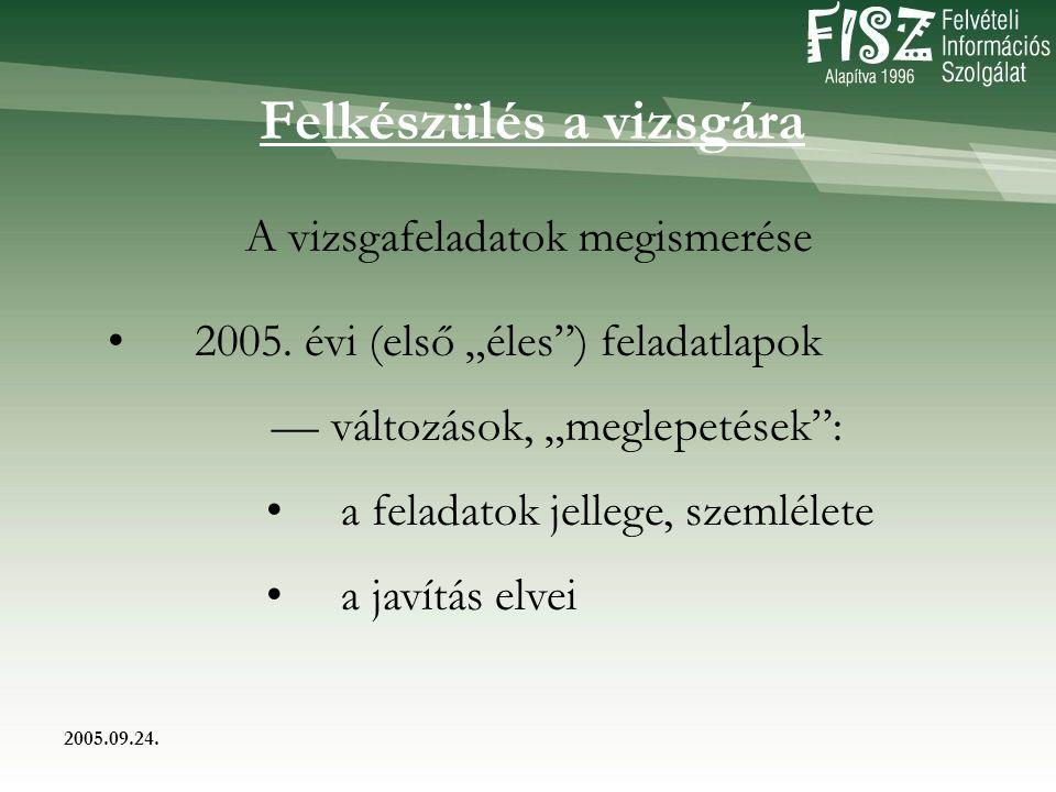 2005.09.24. Felkészülés a vizsgára A vizsgafeladatok megismerése 2005.