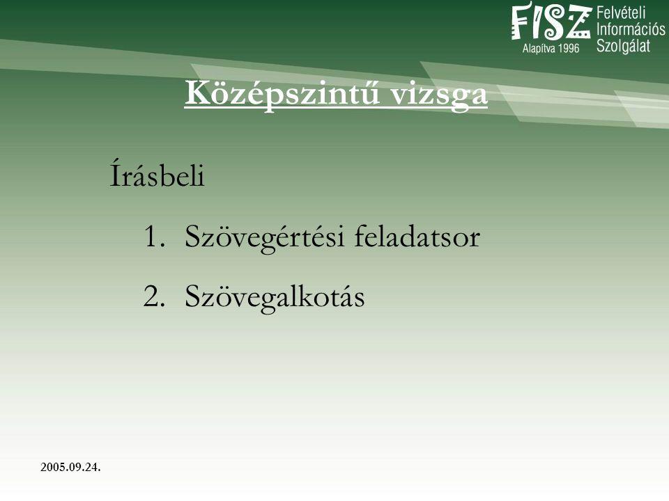 2005.09.24. Középszintű vizsga Írásbeli 1. Szövegértési feladatsor 2. Szövegalkotás