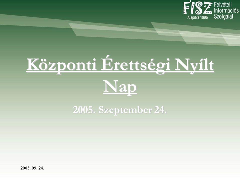 2005. 09. 24. Központi Érettségi Nyílt Nap 2005. Szeptember 24.