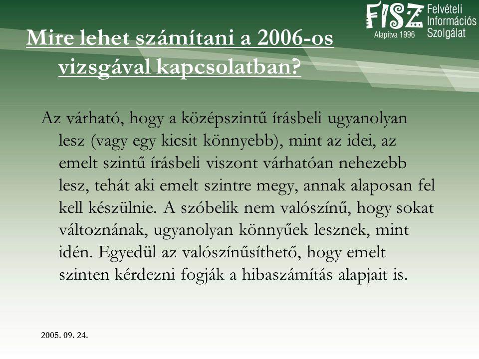 2005. 09. 24. Mire lehet számítani a 2006-os vizsgával kapcsolatban.