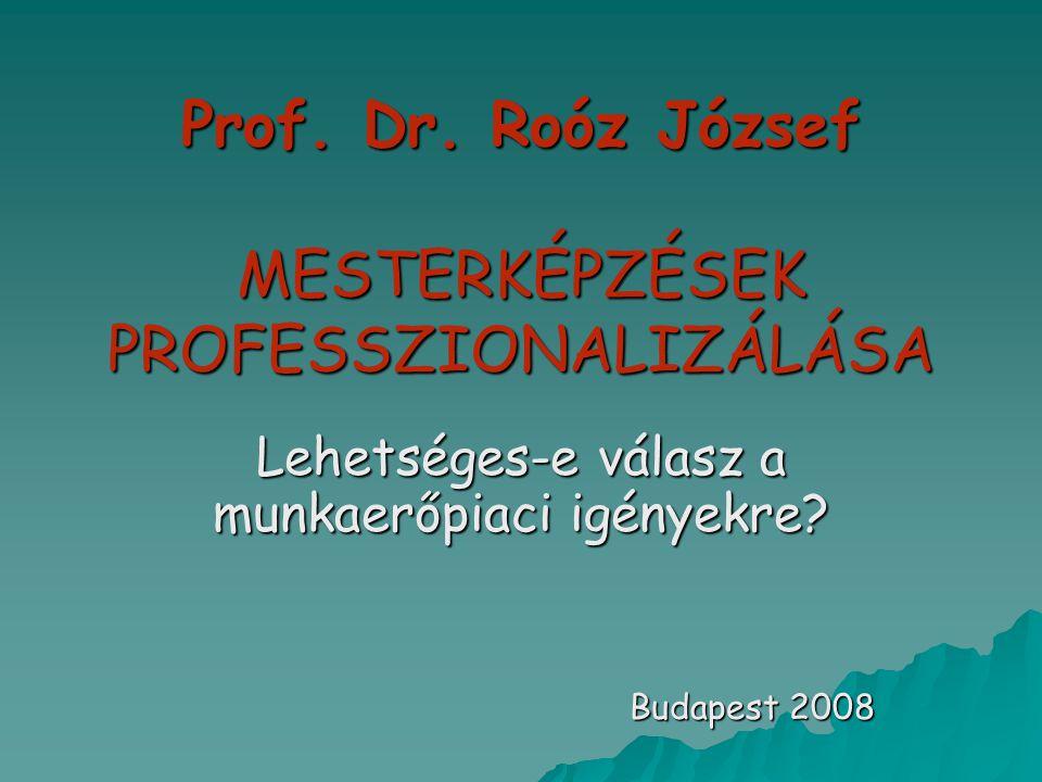 Prof. Dr. Roóz József MESTERKÉPZÉSEK PROFESSZIONALIZÁLÁSA Lehetséges-e válasz a munkaerőpiaci igényekre? Budapest 2008