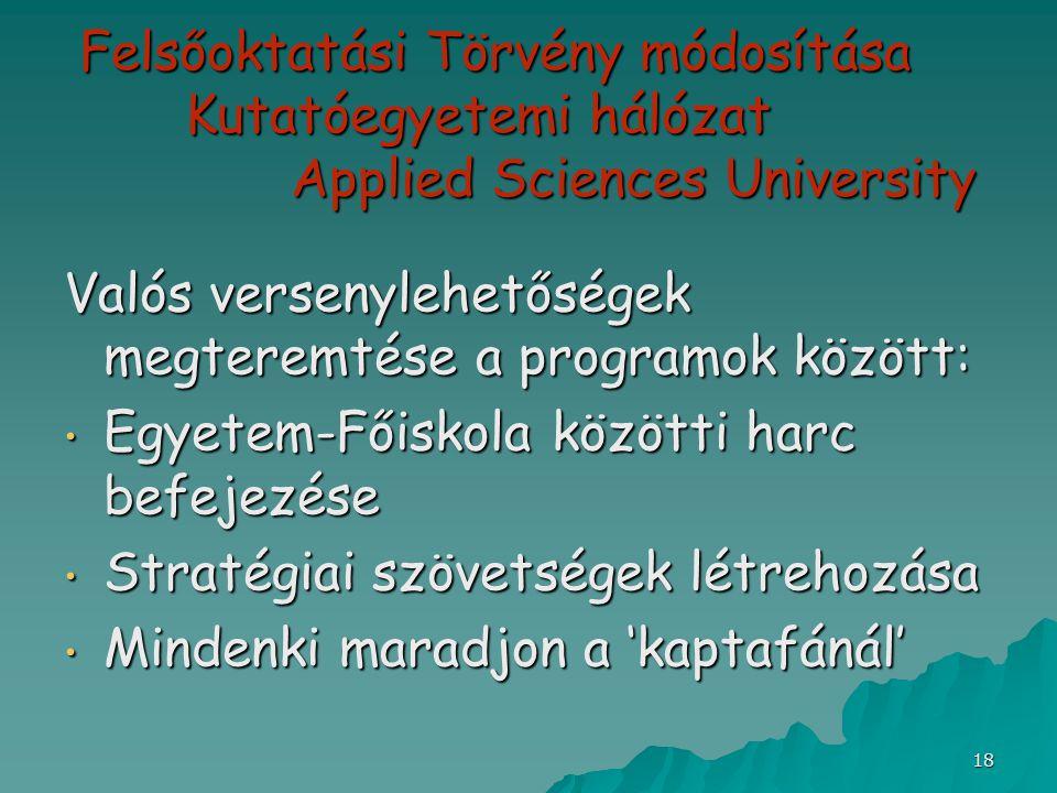 18 Felsőoktatási Törvény módosítása Kutatóegyetemi hálózat Applied Sciences University Valós versenylehetőségek megteremtése a programok között: Egyet