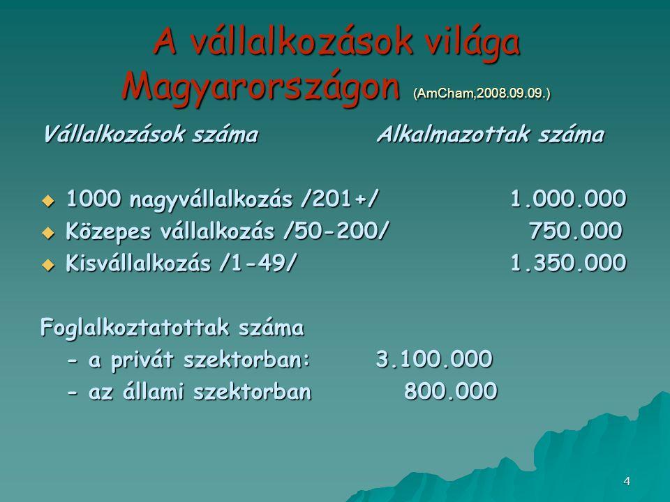 4 A vállalkozások világa Magyarországon (AmCham,2008.09.09.) Vállalkozások számaAlkalmazottak száma  1000 nagyvállalkozás /201+/1.000.000  Közepes v