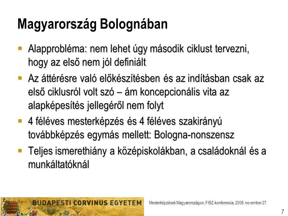 Mesterképzések Magyarországon, FISZ-konferencia, 2008.