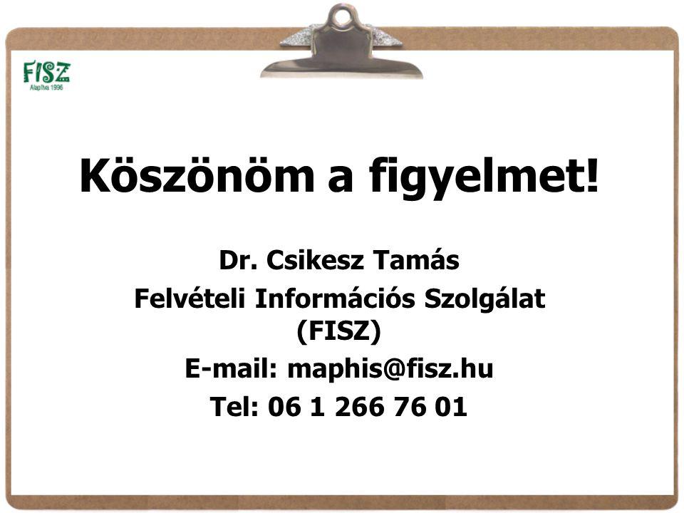 Dr. Csikesz Tamás Felvételi Információs Szolgálat (FISZ) E-mail: maphis@fisz.hu Tel: 06 1 266 76 01 Köszönöm a figyelmet!