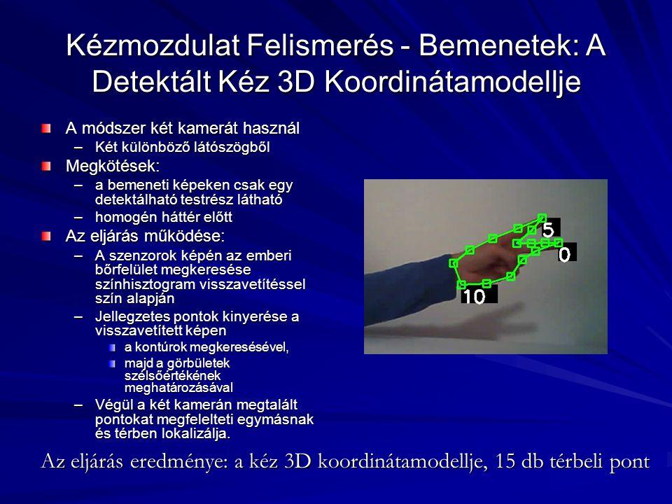 Kézmozdulat Felismerés - Bemenetek: A Detektált Kéz 3D Koordinátamodellje A módszer két kamerát használ –Két különböző látószögből Megkötések: –a beme