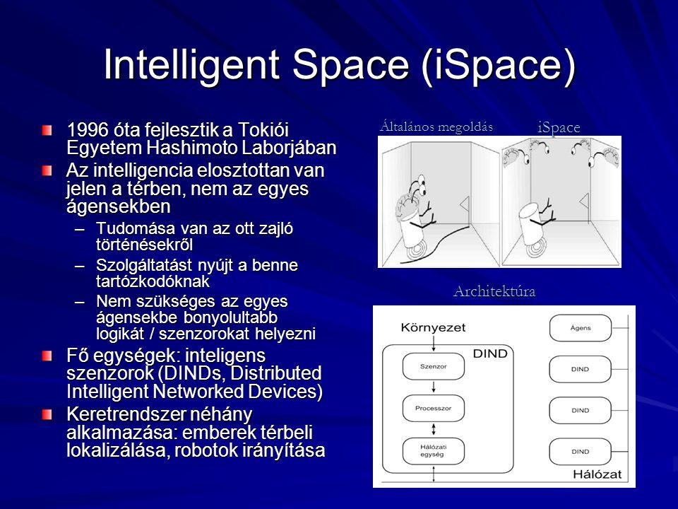 Intelligent Space (iSpace) 1996 óta fejlesztik a Tokiói Egyetem Hashimoto Laborjában Az intelligencia elosztottan van jelen a térben, nem az egyes áge