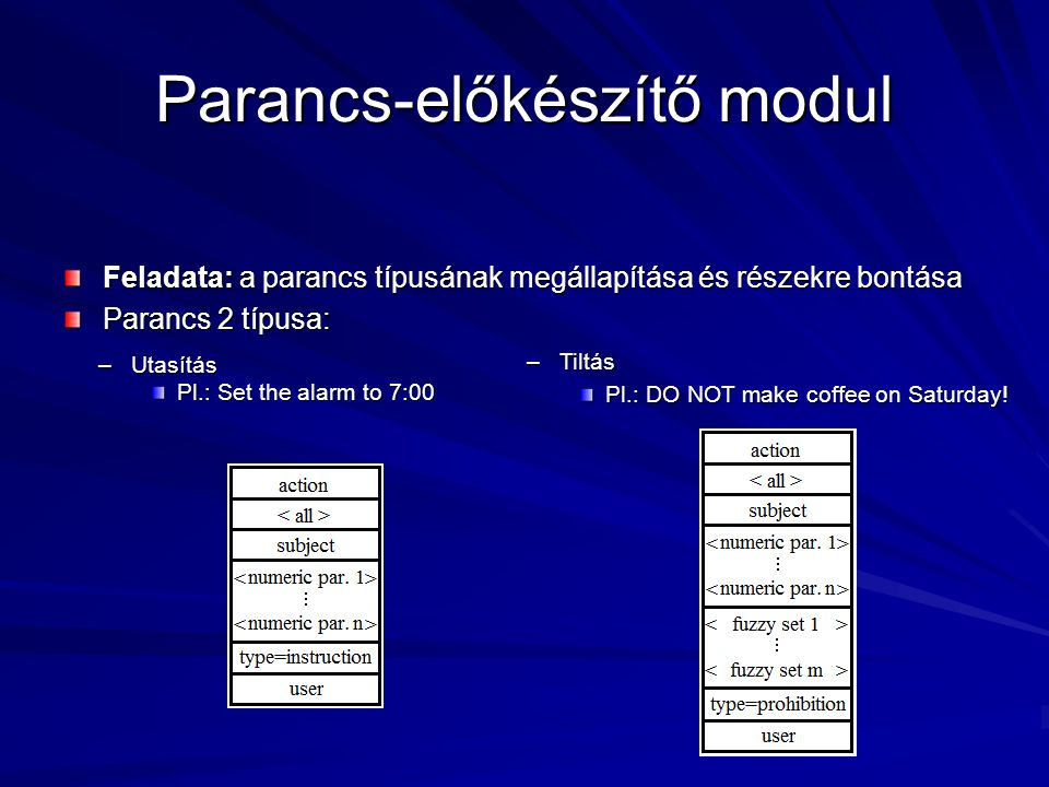 Parancs-előkészítő modul Feladata: a parancs típusának megállapítása és részekre bontása Parancs 2 típusa: –Utasítás Pl.: Set the alarm to 7:00 –Tiltás Pl.: DO NOT make coffee on Saturday!