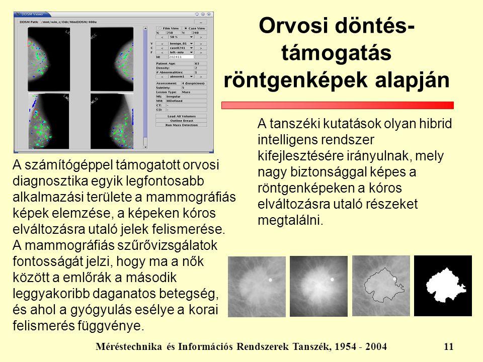 Méréstechnika és Információs Rendszerek Tanszék, 1954 - 200411 Orvosi döntés- támogatás röntgenképek alapján A tanszéki kutatások olyan hibrid intelli