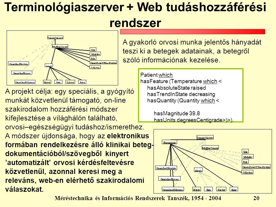 Méréstechnika és Információs Rendszerek Tanszék, 1954 - 200420 Terminológiaszerver + Web tudáshozzáférési rendszer A gyakorló orvosi munka jelentős há