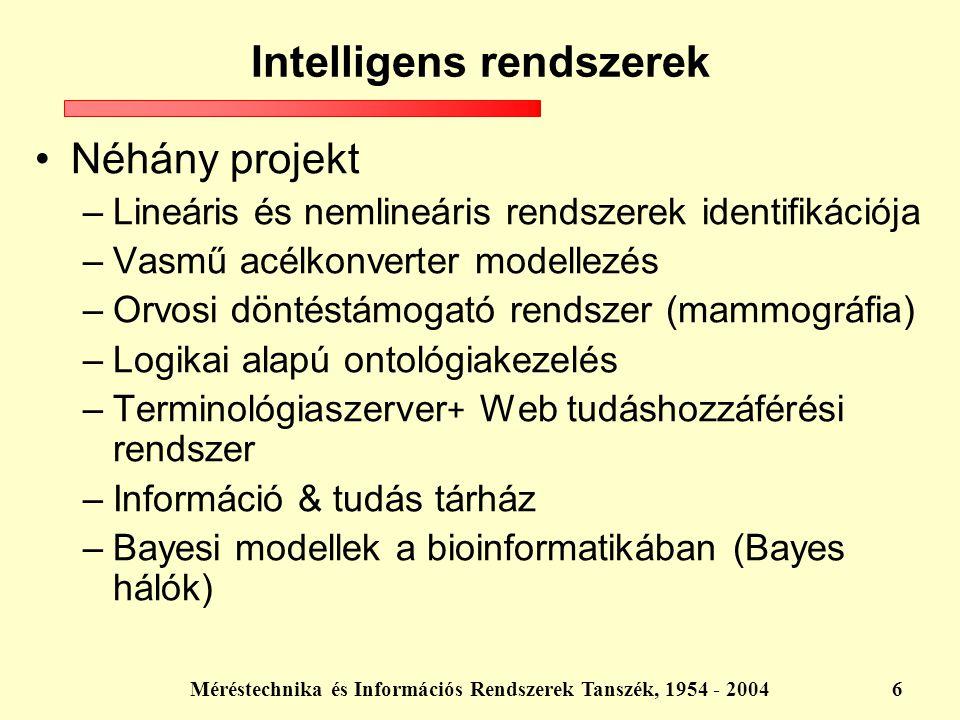 Méréstechnika és Információs Rendszerek Tanszék, 1954 - 20046 Néhány projekt –Lineáris és nemlineáris rendszerek identifikációja –Vasmű acélkonverter